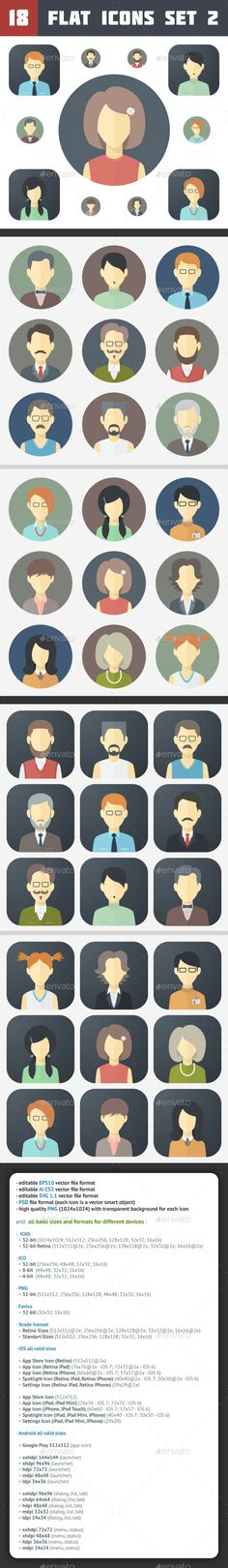 Minimalistic Flat Faces Icons Set 2 - People Characters