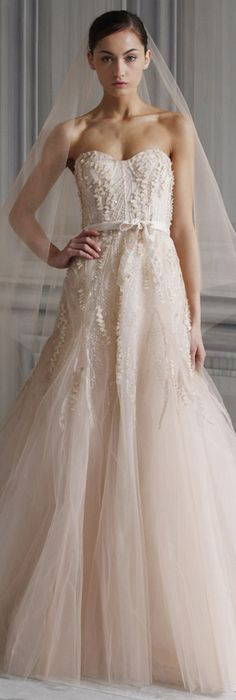 Wedding dress - Monique Lhuillier  So delicate. sooo pretty. if only it were white...