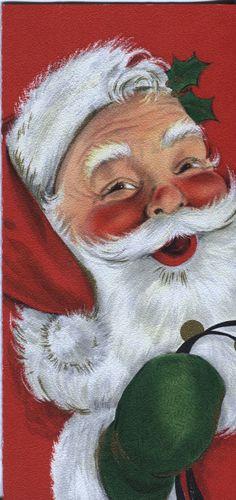 Vintage hallmark Slim Jim Christmas Card - Santa Claus w. Sleigh Bells