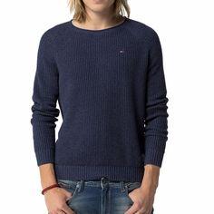 Pull Tommy Hilfiger homme modèle Indy en coton bleu marine