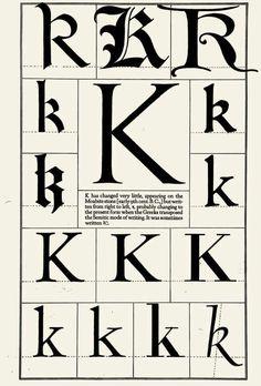 1942 Print Letter K Moabite Stone Greek Typeface Capital Frederic Goudy Calligraphy Letters, Typography Letters, Caligraphy, Font Alphabet, Alphabet Soup, Penmanship, Lettering Styles, Lettering Design, Journal Fonts