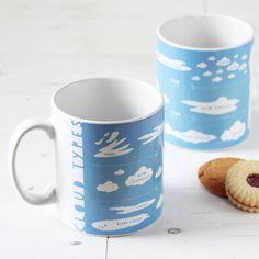 Newton and the Apple Cloud Types Blue Educational Mug ($12) ❤ liked on Polyvore featuring home, kitchen & dining, drinkware, blue, birthday mugs, blue mug, blue drinkware, ceramic mugs and apple mug