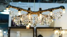 Michael McHales Industrial Chic Chandeliers Architectural Digest Home Show 2013