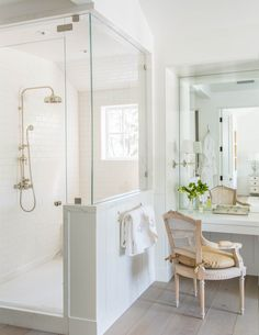 Beautiful modern farmhouse style bathroom inspiration (Giannetti Home) on Hello Lovely Studio Bathroom Renos, Bathroom Renovations, Bathroom Interior, Bathroom Ideas, Bathroom Colors, Bathroom Designs, Bathroom Faucets, White Master Bathroom, Small Bathroom