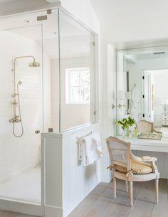 Beautiful modern farmhouse style bathroom inspiration (Giannetti Home) on Hello Lovely Studio White Master Bathroom, Small Bathroom, Master Bathrooms, White Bathrooms, Master Baths, Master Shower, Classic Bathroom, Boho Bathroom, White Bedroom