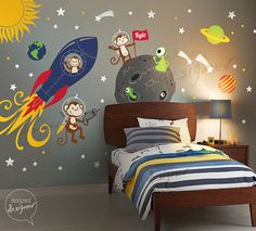 Space Wall Decal, Rocket ship, alien, planet, monkey, astro, boys Kids Wall Decal Wall sticker - dd1072