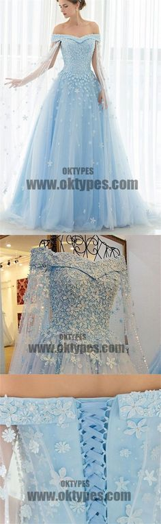 Sky Blue Long Floor Length Prom Dresses, Off-shoulder Prom Dresses, Appliques Prom Dresses, Beading Prom Dresses, TYP0346 #promdresses