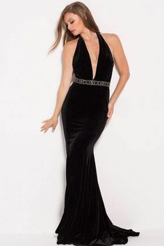 b03de183c96a Jovani - 54845 Plunging Halter Neck Beaded Velvet Prom Dress Halter Neck,  Backless Dresses,