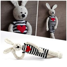 #crochet #rabbit #bunny #toy #stripes #blackandwhite #heart