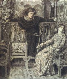 Dante Gabriel Rossetti - PreRaphaelite - Amleto e Ofelia - 1858 - Study