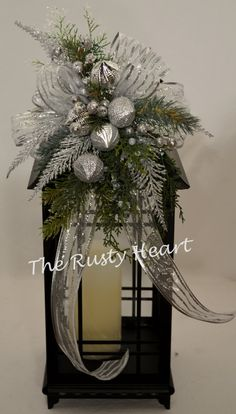 Silver Christmas Lantern Swag by TheRustyHeart on Etsy