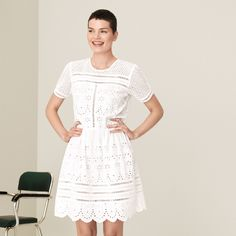 Shop elegant, high-quality, tailored clothing and accessories that help build a timeless wardrobe from the official Fall Winter Spring Summer FWSS online store. Lace Dress, White Dress, Fall Winter Spring Summer, Elastic Ribbon, White Lace, Dandelion, Short Sleeve Dresses, Elegant, Cotton