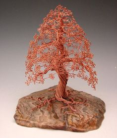 Copper Wire Art | Bonsai Copper Wire Tree Sculpture - 1806 Sculpture by Omer Huremovic ...