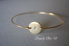 Hand Stamped initial bangle Bracelet Gold Disc by simplychic93