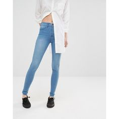 Dr Denim Plenty Light Blue Skinny Jean ($40) ❤ liked on Polyvore featuring jeans, blue, skinny fit jeans, skinny leg jeans, high rise jeans, light blue high waisted jeans and tall jeans