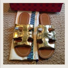Tory Burch T Anchor Sandals New in box! Gold Tory anchor sandals. Size 9. Tory Burch Shoes Sandals