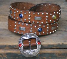 Vtg Antique 40s 50s Jeweled Studded Western Motorcycle Belt Size 38 Cowboy