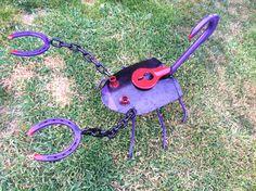 Horse shoe shovel scorpion yard art metal art