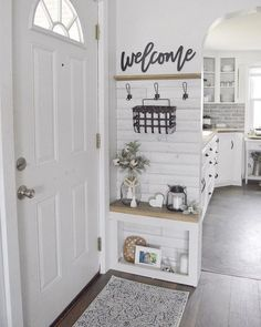 40 best small entryway decor & design ideas to upgrade space 40 - Eingang Halls Pequenos, Entryway Wall Decor, Kitchen Entryway Ideas, Apartment Entryway, Entryway Furniture, Outdoor Entryway Ideas, Entryway Hooks, Bench Decor, Entrance Decor