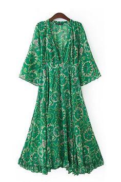 Wide green dress