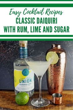 Classic white rum cocktails - just three ingredients are needed to make this rum cocktail. The delicious daiquiri dates back to the turn of the century and is made with white rum, lime and sugar. Cocktail And Mocktail, Refreshing Cocktails, Easy Cocktails, Daiquiri Cocktail, Classic Cocktails, Summer Cocktails, Cocktail Recipes, Barbados Rum