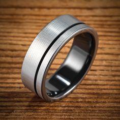 Black Zirconium Bi-Color Offset Stripe Ring from Spexton Custom Jewelry