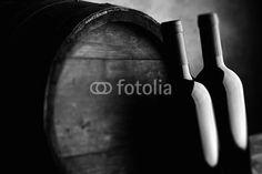 wine - tilt shift selective focus effect black and white photo