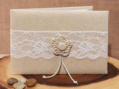 Rustic Collection Burlap And Lace Guest Book