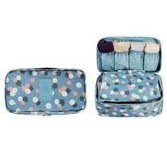 Itraveller Multi functional Travel Bras Underwear Storage Organizers Bag Kits Also for Socks Eletronic Accessories (Blue Flower)