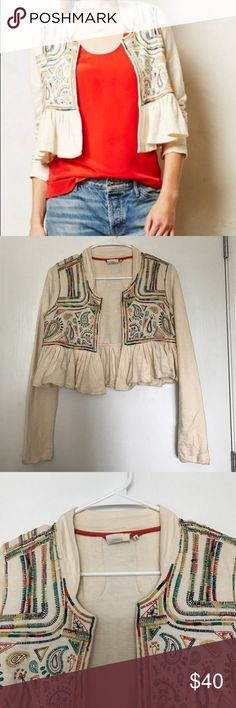 Embroidered Boho Cropped Lilka Jacket Blazer Gorgeous cropped jacket featuring detailed stitching/embroidery. Pleated peplum bottom makes the jacket super feminine. 100% cotton. Note: stitching is a bit erratic giving this piece a handmade, boho look. Anthropologie Jackets & Coats Blazers
