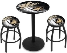 USMA Black Knights D2 Black Pub Table Set.  Available in two table widths. Visit SportsFansPlus.com for Details.