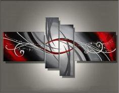 Tableau triptyque design rouge gris abstrait Ejrac.