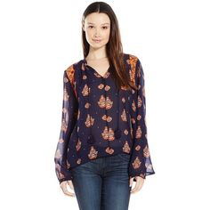 Miss Me Junior's Long Sleeve Front Tie Blouse ($23) ❤ liked on Polyvore featuring tops, blouses, purple blouse, bell sleeve top, long sleeve blouse, long sleeve lace top and purple lace top