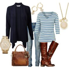 """""""Navy Cardigan - Casual Look"""" by rootsandrenovations on Polyvore"""