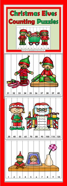 24 Christmas Elves Counting Puzzles
