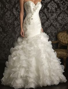 Maggie Sottero fishtail with ruffles