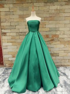 Green Satin Prom Dresses Strapless Bow Sash Backless Prom Ball Gown For Women Pleated Skirt Real Photo Formal Evening Party Dress Cheap Sexy Prom Dresses Cheapest Prom Dresses From Dressonline0603, $100.52  Dhgate.Com