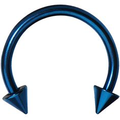 16 Gauge Blue Titanium Spike Horseshoe Circular Barbell 3/8"