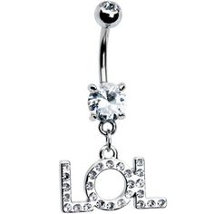Cubic Zirconia LOL Belly Ring