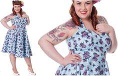 vintage inspired dresses plus size | Vintage plus size dresses 50s Blue Garden Party Flower Print