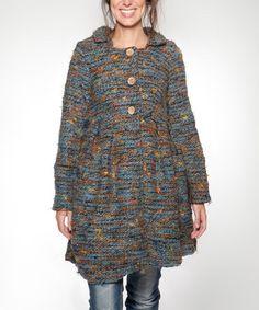 Look at this #zulilyfind! Blue & Orange Hope Wool-Blend Jacket by Piedra y Agua #zulilyfinds