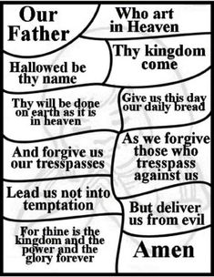 Lord's Prayer bulletin insers.  Free printable coloring pages and craft activities for Kids.