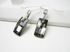 Silver Night Urban Swarovski Crystal Sterling Silver Earrings by TurtleCoveDesigns