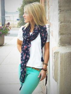 I love the combo of the mint pants and floral scarf