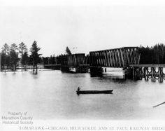 Milwaukee Road wooden Howe Truss Bridge at Tomahawk, Wisconsin :