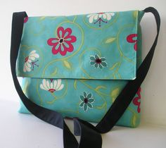 Messenger Bag in Teal and Red Floral by jazzygeminis on Etsy, $35.00.  kinda cute..