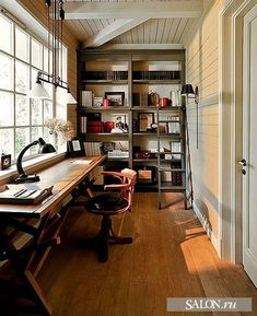 Superb Garage Office #2: This Is Perfect For The Office Room - Maybe Use Ikea Shelves To Line The Walls? Beautiful....Love The Idea For A Long Skinny Room, Love The Huge Window ...