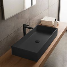 This vessel style sink is part of the Scarabeo Teorema collection. This sink was made in Italy from high quality ceramic in a matte black finish. It is a contemporary style sink with no holes. Black Bathroom Sink, Bathroom Sink Design, Black Sink, Vessel Sink Bathroom, Bathroom Styling, Bathroom Interior Design, Free Standing Sink Bathroom, Kitchen Sink, Master Bathroom