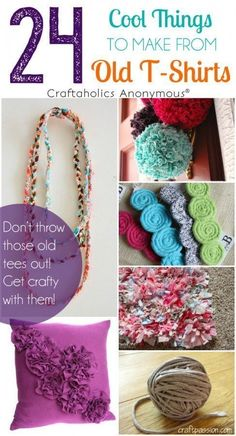 24 Cool Things to Make with Old T-Shirts. Great way to use old tees! lots of gre… 24 coisas legais para fazer com camisetas velhas. Fabric Crafts, Sewing Crafts, Sewing Projects, Craft Projects, Craft Ideas, Projects To Try, Tee Shirt Crafts, T Shirt Yarn, Diy Shirt