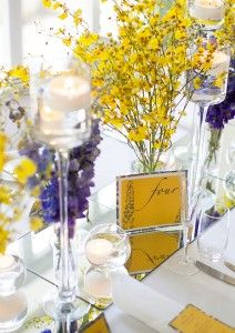 blue and yellow wedding (love the yellow flowers)